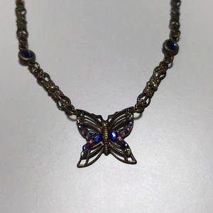 Anne Koplik design necklace antique gold butterfly